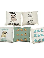 Set of 5 Yoga dog pattern Linen Pillowcase Sofa Home Decor Cushion Cover