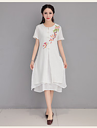 Spot really making 2017 spring and summer short-sleeved cotton cardigan embroidered dress and long sections coat tea Pankou
