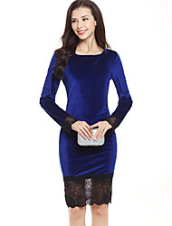 Women's Casual Work Vintage  Street chic Sheath DressSolid Lace Round Neck Above Knee Long Sleeve