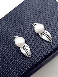 Stud Earrings Jewelry Pearl Sterling Silver Fashion Leaf Silver Jewelry Daily Casual 1 pair