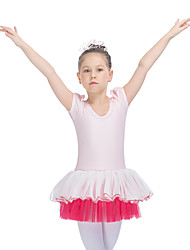 Ballet Tutus & Skirts Women's Children's Performance Nylon Tulle Lycra Ruched Tiers Splicing 1 Piece Short Sleeve Dress