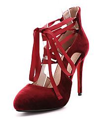 Women's Heels Spring Summer Fall Winter Club Shoes Fleece Wedding Party & Evening Dress Stiletto Heel Zipper Lace-up Black Red