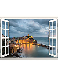 3D Wall Stickers Wall Decals Style Night View of Fishing Village PVC Wall Stickers
