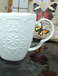 1 PC 350ML The Butterfly Hollow Ceramic Mug Pastoral Vintage Lace Relief Coffee Cup