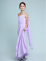 LAN TING BRIDE Floor Length Chiffon Junior Bridesmaid Dress Sheath / Column One Shoulder Natural with Beading Side Draping Ruching - Sky