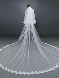 Véus de Noiva Duas Camadas Véu Cotovelo Véu Catedral Borda com aplicação de Renda Tule Renda