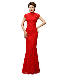 Classic/Traditional Lolita Vintage Inspired Elegant Cosplay Lolita Dress Print Short Sleeve Long Length Dress For Terylene