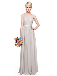 LAN TING BRIDE Floor-length One Shoulder Bridesmaid Dress - Elegant Sleeveless Chiffon