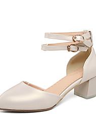 Women's Sandals Summer D'Orsay & Two-Piece Leatherette Wedding Dress Party & Evening Chunky Heel Block Heel Buckle ZipperSilver Beige