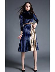 Trapèze Robe Femme Décontracté / Quotidien Sexy,Couleur Pleine Col Arrondi Au dessus du genou Manches Longues Bleu Coton Printemps Automne