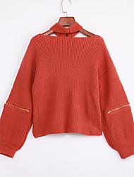 Уличный стиль Обычный Пуловер Однотонный,Коричневый V-образный вырез Длинный рукав Полиэстер Зима Тонкая Слабоэластичная