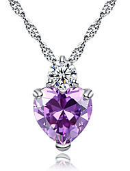 Heart-shaped pendant fashion zircon jewelry hearts sautoir singleness of heart necklace # 0379