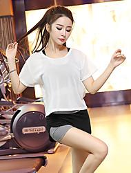 Femme Survêtement Manches Courtes Séchage rapide Respirable Soutien-Gorges de Sport Tee-shirt Cuissard / Short Ensemble de Vêtements