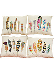 Set of 4 Feather pattern Linen Pillowcase Sofa Home Decor Cushion Cover