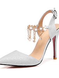 Women's Heels Spring Summer Fall Synthetic Wedding Dress Party & Evening Stiletto Heel Pearl Silver Blushing Pink Nude