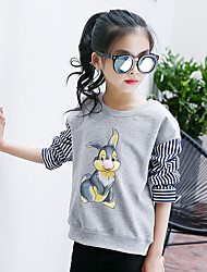 Girl's Fashion Going out Casual/Daily Holiday Stripes Tee Spring/Fall Children Cotton Long Sleeve Cartoon Print Shirt Blouse