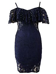 Women's Navy Sexy V Neck Off Shoulder Lace Dress