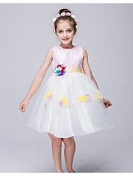 Ball Gown Knee-length Flower Girl Dress - Organza Jewel with Appliques Flower(s)