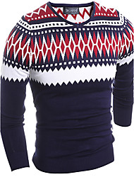 Men's Casual/Daily Simple Regular Pullover,Jacquard Red Yellow Round Neck Long Sleeve Polyester Spring Fall Medium Micro-elastic