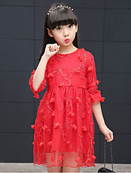 Girl's Casual/Daily Solid Dress,Cotton Rayon Spring ¾ Sleeve
