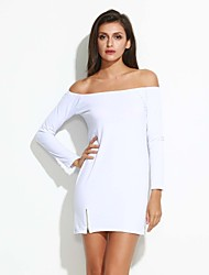 Women's Sexy Off Shoulder Long Sleeve Bodycon Solid Dress with Zipper