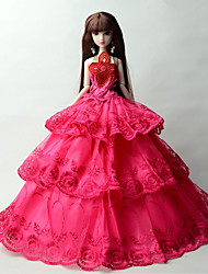 Princesse Robes Pour Poupée Barbie Fuchsia Lace Robes Pour Fille de Jouets DIY