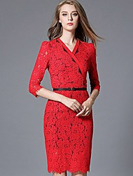Women's Work Party/Cocktail Sophisticated Lace Dress,Solid Lace V Neck Knee-length ½ Length Sleeve Polyester Red Spring High Rise