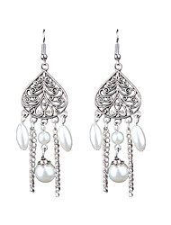 Retro Fashion Folk Style Long Chain Pearl Earrings