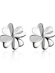 Non Stone Stud Earrings Jewelry Daily Silver Plated 1pc