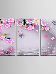 Canvas Set Animal Floral/Botanical Classic Pastoral,Three Panels Canvas Vertical Print Wall Decor For Home Decoration