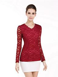 Tee-shirt Femme,Couleur Pleine Sortie Travail Sexy Sophistiqué Printemps Automne ½ Manches Col en V Rose Rouge Blanc Noir Vert Polyester