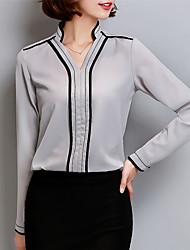 Для женщин На каждый день Большие размеры Весна Осень Блуза V-образный вырез,Уличный стиль Однотонный Длинный рукав,Полиэстер,Средняя