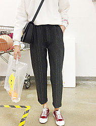 simple signe de laine épaisse bande verticale pantalons sauvages taille élastique