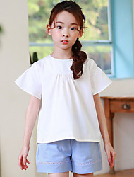 Girl Casual/Daily Solid Blouse,Cotton Summer Short Sleeve Regular