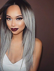 Heat Resistant Synthetic Lace Front Wigs Straight Hair Ombre T1B/Grey Color Synthetic Fiber Hair Wig