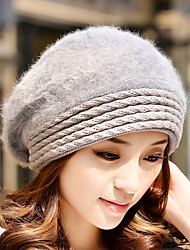 Fashion Autumn And Winter New Women 'S Striped Rabbit Wool Knit Hat Head Cap Warm Wool Hat
