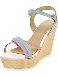 Damen-Sandalen-Büro Kleid Party & Festivität-Kunstleder-Keilabsatz-Club-Schuhe-Blau Rosa Lila Mandelfarben