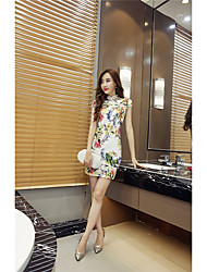 Women's Formal Work Party/Cocktail Sexy Chinoiserie Sophisticated A Line Bodycon Sheath Dress,Floral Backless Crew Neck Mini Above Knee