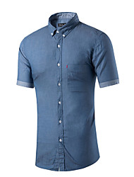 Men's Casual/Daily Simple Summer Shirt,Solid Button Down Collar Short Sleeves Cotton Medium