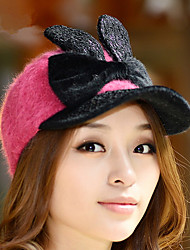Fashion New Rabbit Ears Rabbit Hair Hit The Color Baseball Cap Hat