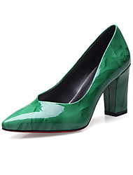 Women's Heels Spring Summer Fall Comfort Patent Leather Wedding Office & Career Party & Evening Chunky Heel Flower Black Green Red Hiking