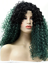 Heat Resistant Synthetic Lace Front Wig Kinky Curly Hair Black Root Dark Green Color Synthetic Fiber Hair Lace Wigs