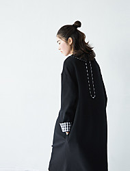 SU Korea Institute of wind wild sweet plaid cotton stitching plus velvet doll collar waist dress