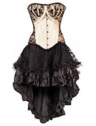Feminino Com Busto / Vestido com Corset / Conjunto com Corset / Tamanhos Grandes Roupa de Noite PatchworkAlgodão / Renda / Malha / Náilon