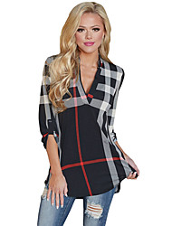 Women's Plaid 3/4 Roll-tab Sleeves Top