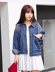 Sign 2017 spring models retro big pocket loose casual scratches BF denim jacket female students