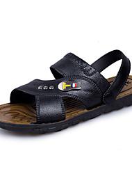 Men's Sandals Comfort Leather Summer Fall Athletic Casual Outdoor Comfort Button Flat Heel Dark Brown Black Flat
