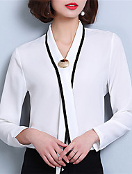 Fashion Spring Long Sleeves V Collar Upper Outer Garment Daily Leisure Solid Color OL Wild Home Play Chiffon Blouse