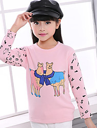 Girl's Cotton Fashion Spring/Winter/Autumn Casual/Daily Cartoon Print Long Sleeve Pink T-shirt Children Under Shirt