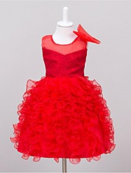Vestido de baile feminino vestido de menina com flor de joelho - gola de organza sem mangas com babados